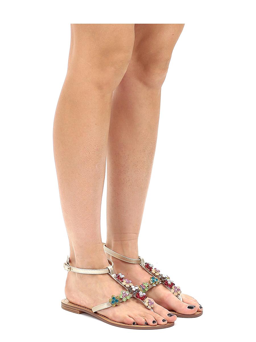 Sandals Gold Flat Flat Guess Sandals Guess Gold Flat OXZPkiu