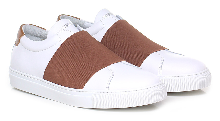 Sneaker White/cognac National Standard