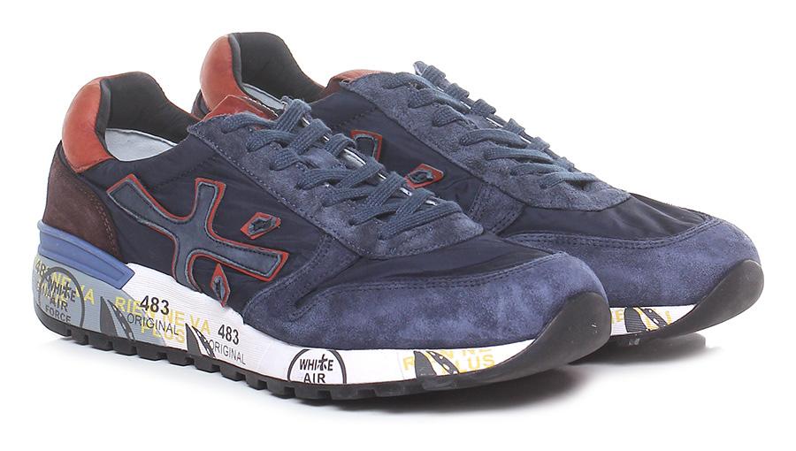 Sneaker 3254 blue/orange/brown Premiata Verschleißfeste billige Schuhe