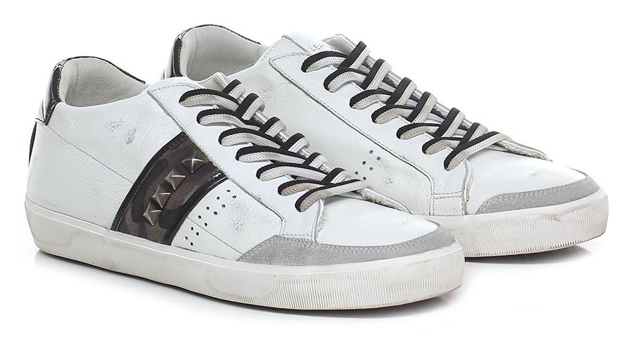 Sneaker White/camouflage/black Leather Crown Verschleißfeste billige Schuhe