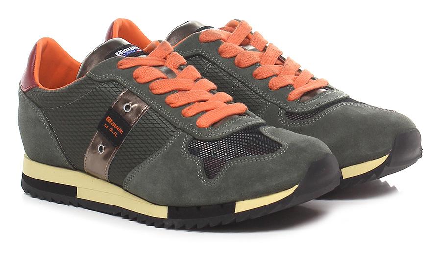 Sneaker Olive/orange/red Blauer Verschleißfeste billige Schuhe