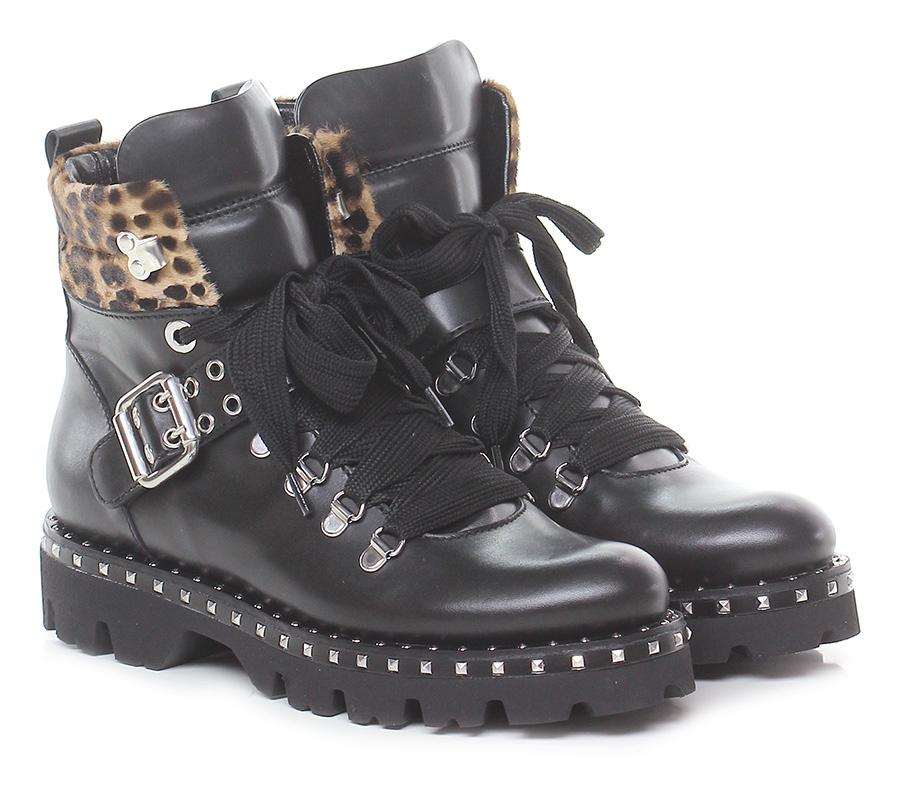 Polacco Nero/leopardo Guglielmo Rotta Verschleißfeste billige Schuhe