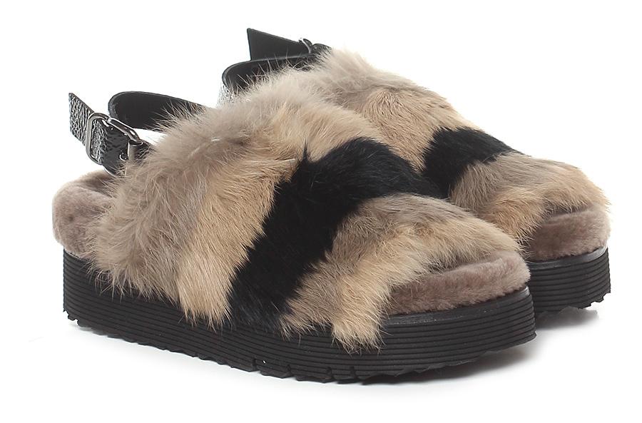 Sandalo basso Sabbia/nero Laura Bellariva Scarpe economiche e buone