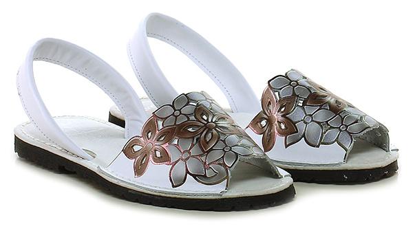 Flache sandale Bianco/grigio Avarca by C. Ortuno