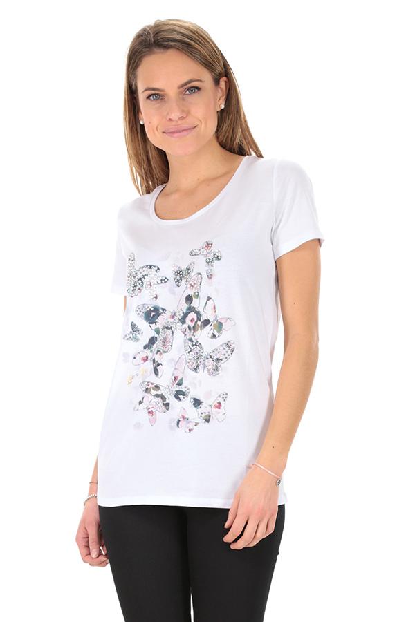 Liu Jo T Shirt Elasticizzata con Logo Circolare con Strass