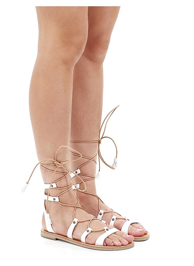 Flache sandale Bianco Grecian Chick Hohe Qualität