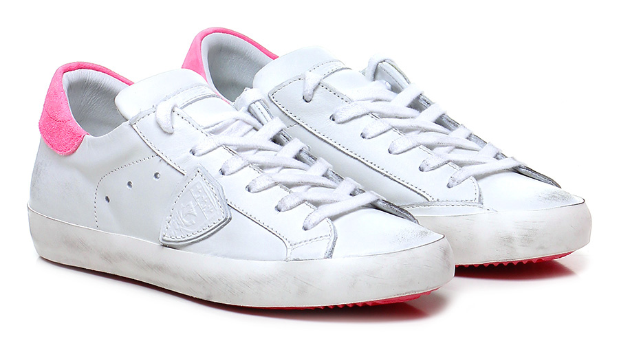 Sneaker White/fuxia Philippe Model Paris Mode billige Schuhe