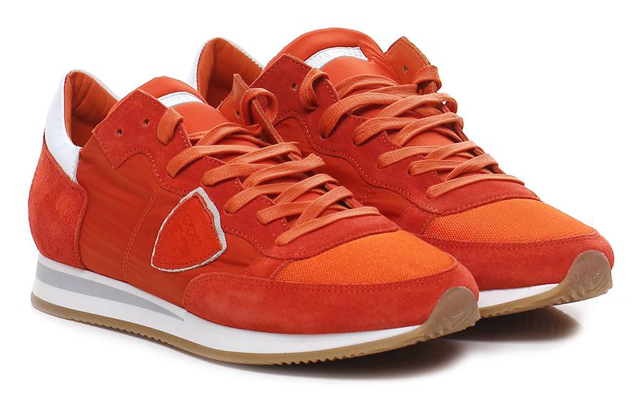Sneaker Orange/white Philippe Model Paris Hohe Qualität