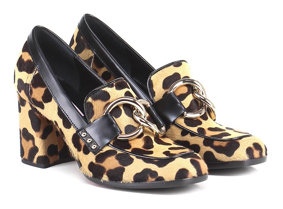 Scarpa con tacco Leopard/nero Couture Hohe Qualität