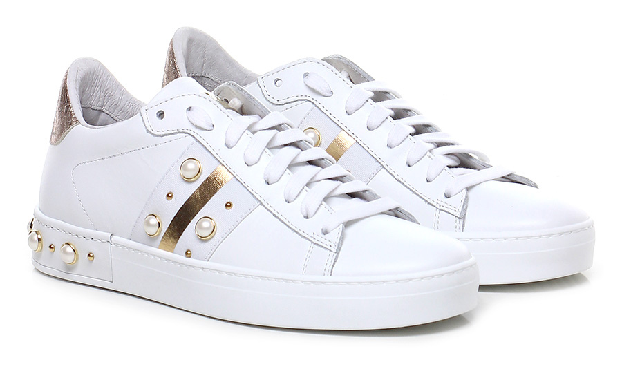 Sneaker Bianco/oro/rame Stokton Verschleißfeste billige Schuhe