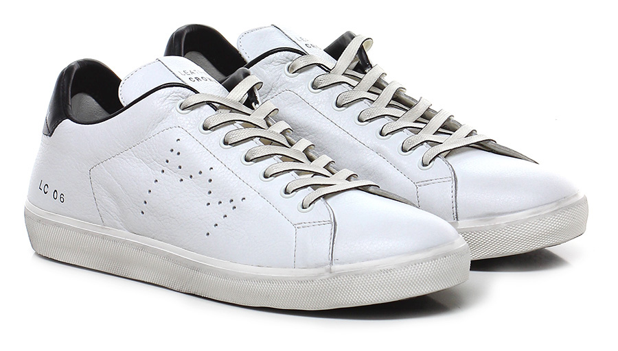 Sneaker White\black Leather Leather White\black Crown Mode billige Schuhe c23841