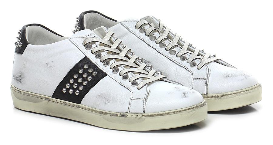 Sneaker White\black Leather Crown Mode billige Schuhe