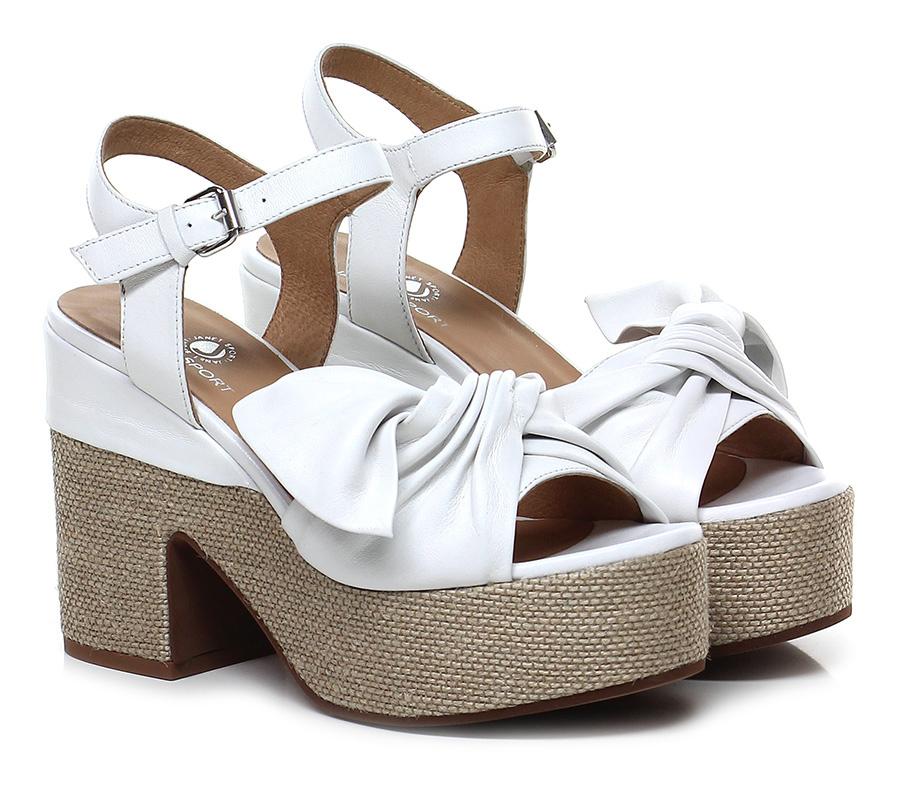 Sandalo alto Bianco/sabbia Janet Sport Mode billige Schuhe