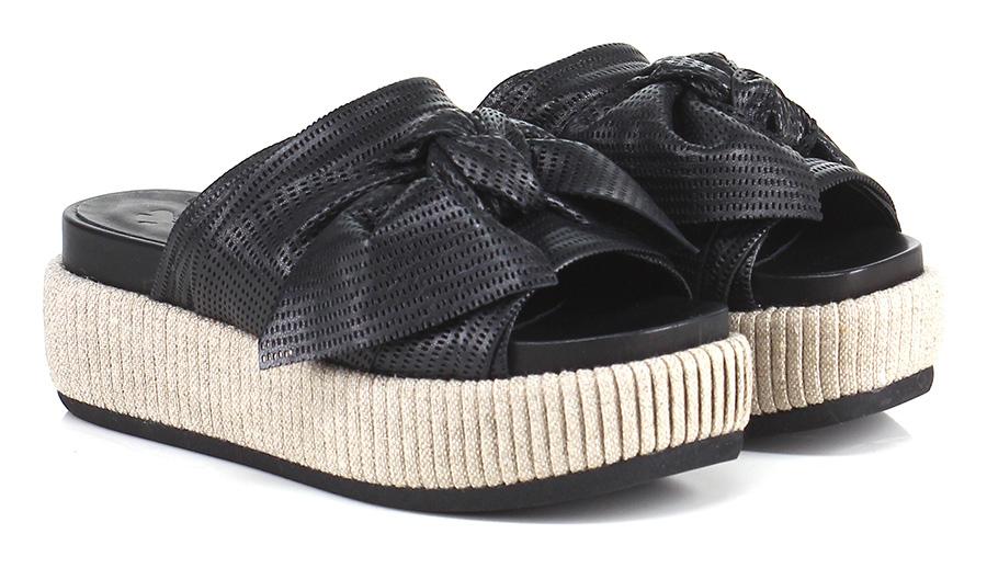 Sandalo basso Nero Fiori Francesi Mode billige Schuhe
