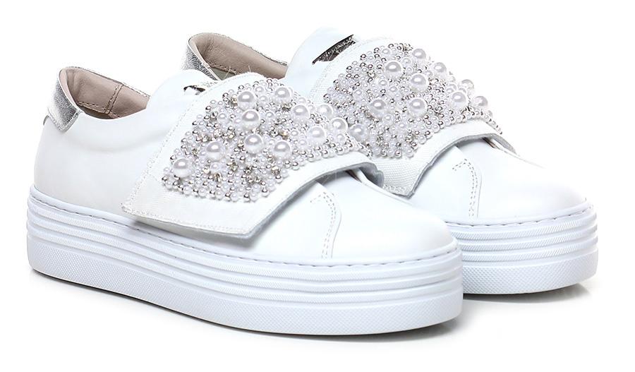 Sneaker Bianco/argento Tosca Blu Shoes Hohe Qualität