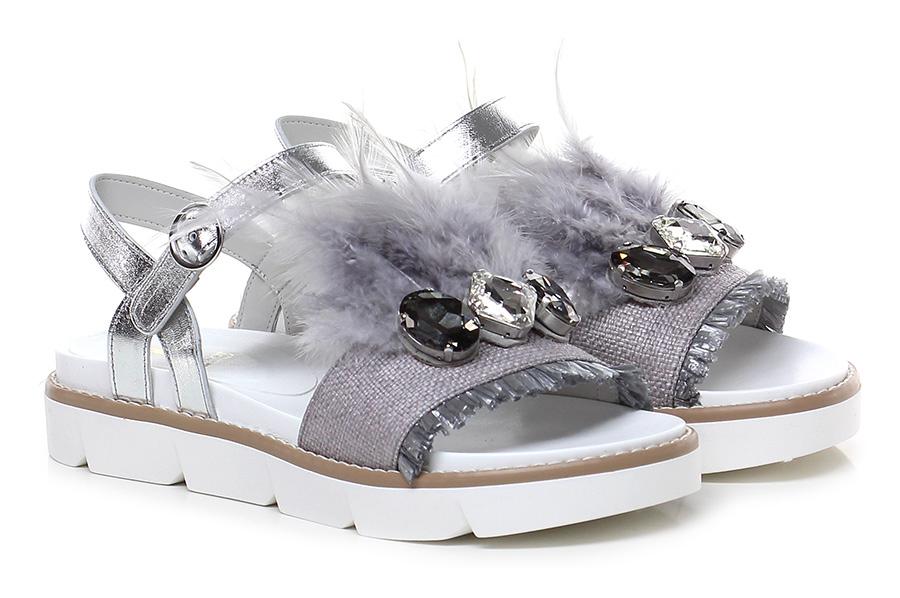Sandalo basso Argento/perla Jeannot Verschleißfeste billige Schuhe