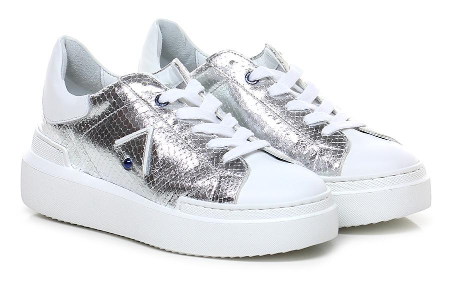 Sneaker Bianco/argento Ed Parrish Verschleißfeste billige Schuhe