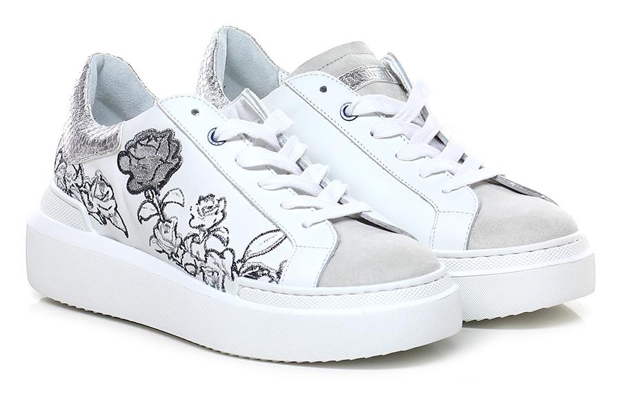 Sneaker Bianco/argento/avorio Ed Parrish Mode billige Schuhe