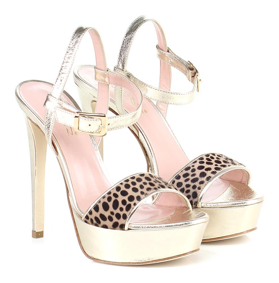 Sandalo alto  Leopard/platino Chon