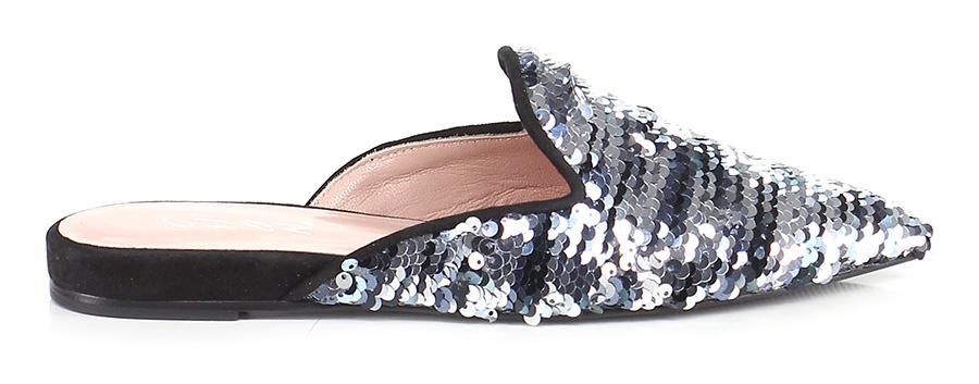 Scarpa bassa bassa bassa Argento/nero Chon Mode billige Schuhe d6f78b