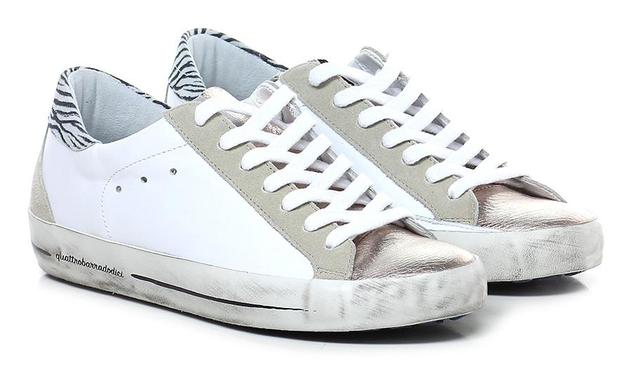 Sneaker Bianco/rame/zebrato Quattrobarradodici Verschleißfeste billige Schuhe