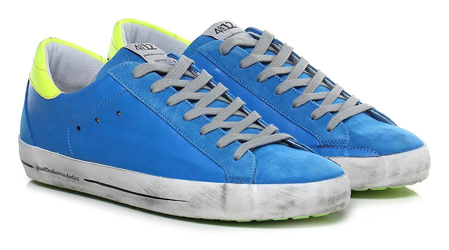 Sneaker Azzurro/giallo fluo Quattrobarradodici Verschleißfeste billige Schuhe