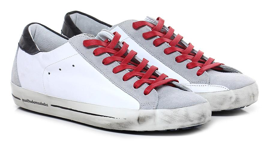 Sneaker Bianco/grigio/rosso Quattrobarradodici