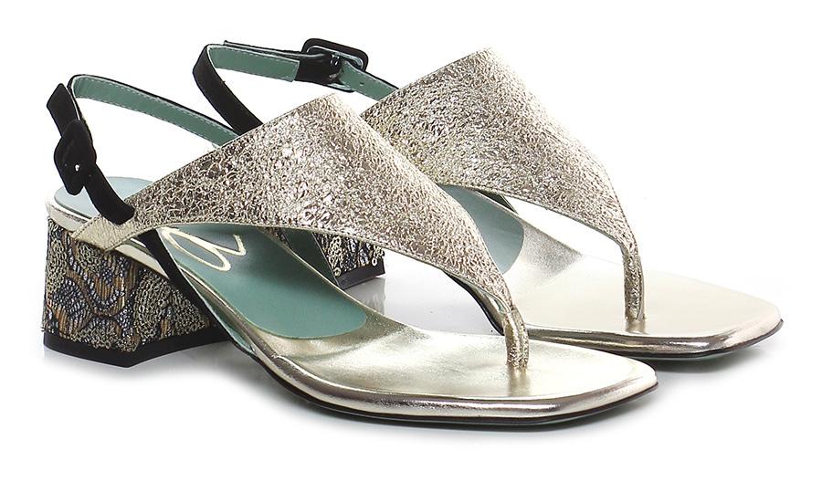 Sandalo alto  Platino/nero Paola D'arcano