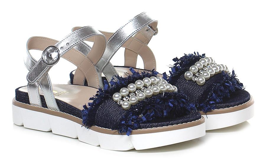 Sandalo basso Argento/denim Jeannot Verschleißfeste billige Schuhe