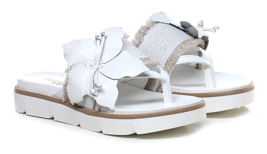 Sandalo basso Bianco Jeannot Mode billige Schuhe
