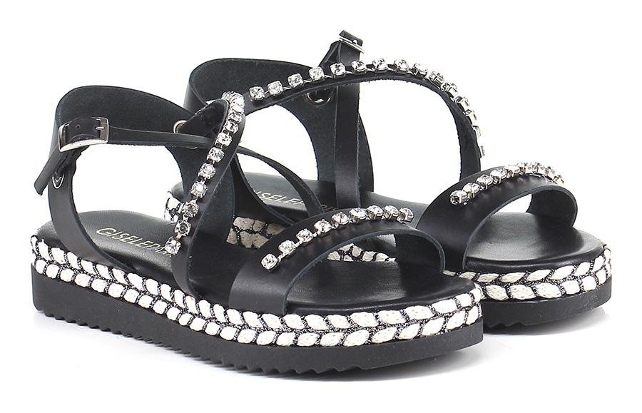 Sandalo basso Nero Gisele Paris Hohe Qualität