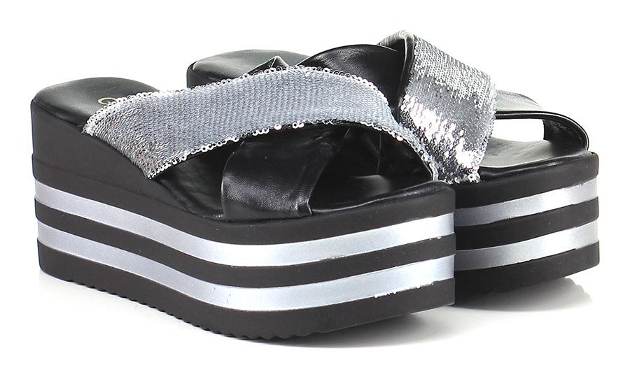 Zeppa Argento/nero Gisele Paris Verschleißfeste billige Schuhe