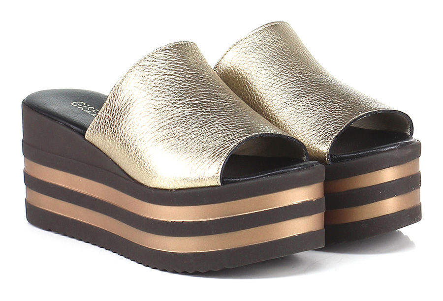 Zeppa Oro/nero Gisele Paris Verschleißfeste billige Schuhe