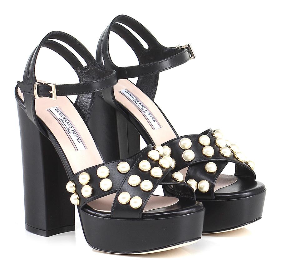Sandalo alto Nero Guglielmo Rotta Hohe Qualität