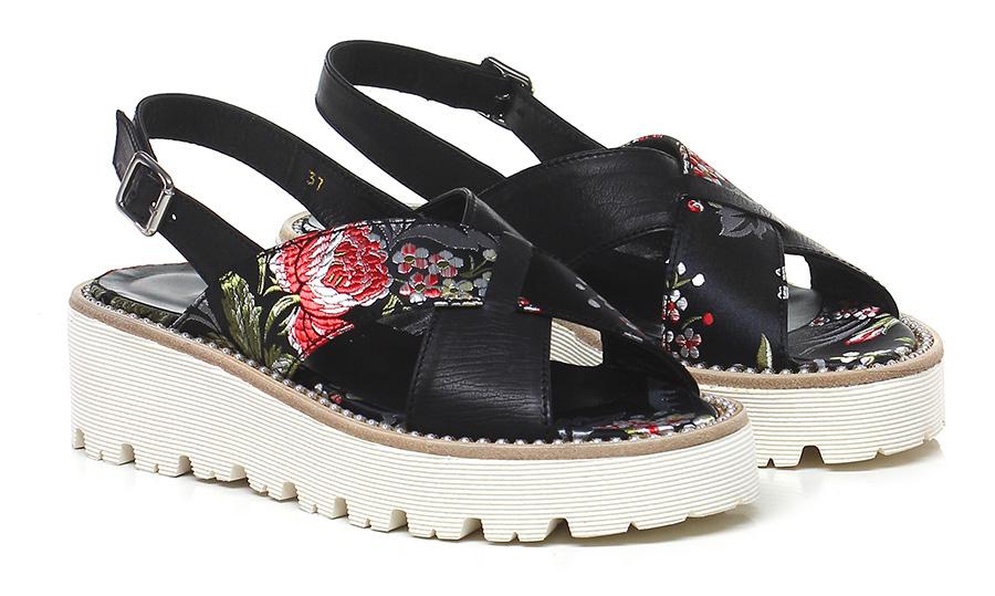 Sandalo basso Nero/multicolor Guglielmo Rotta Mode billige Schuhe