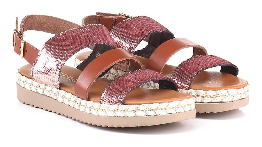 Sandalo basso Cuoio/rame Gisele Paris Hohe Qualität