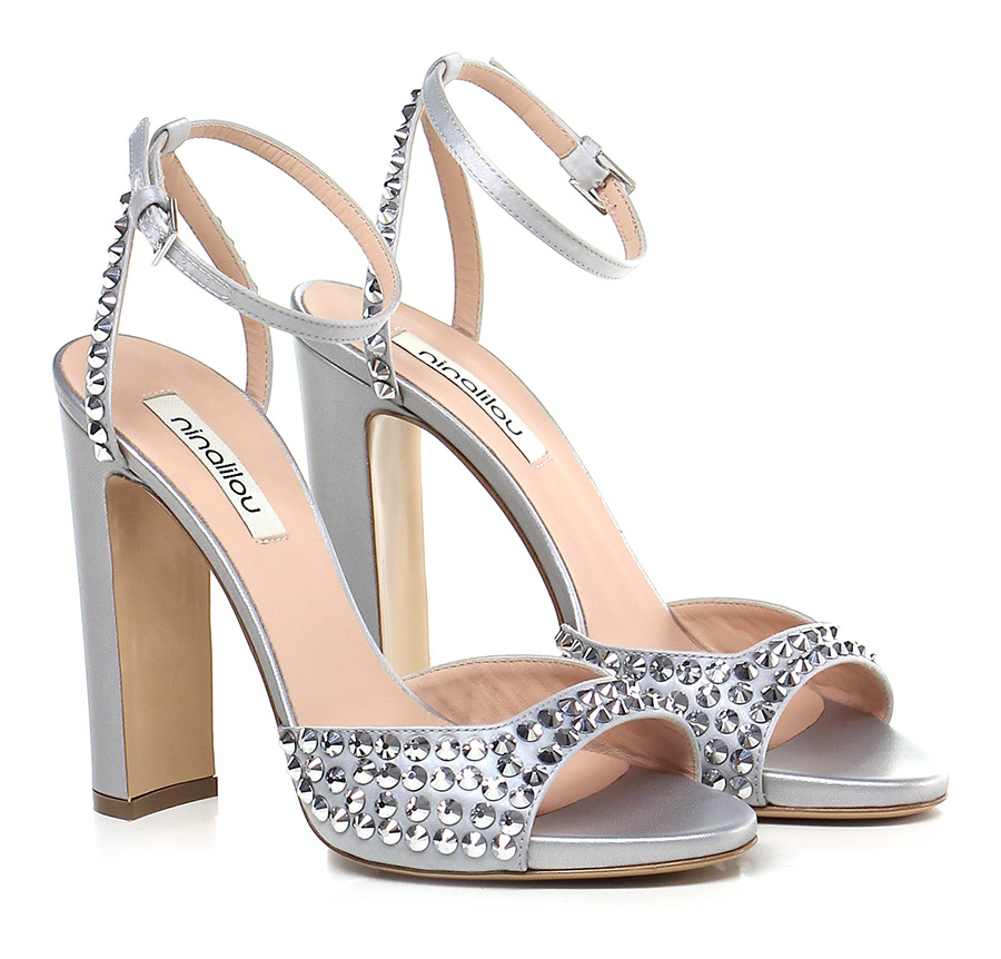 Sandalo alto Argento Ninalilou Verschleißfeste billige Schuhe