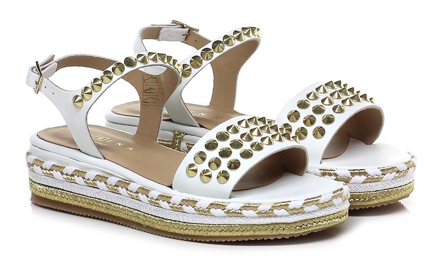 Sandalo basso Bianco Fiorina Scarpe economiche e buone