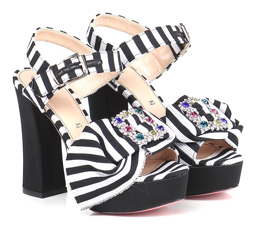Sandalo alto  Nero/bianco Tipe e Tacchi
