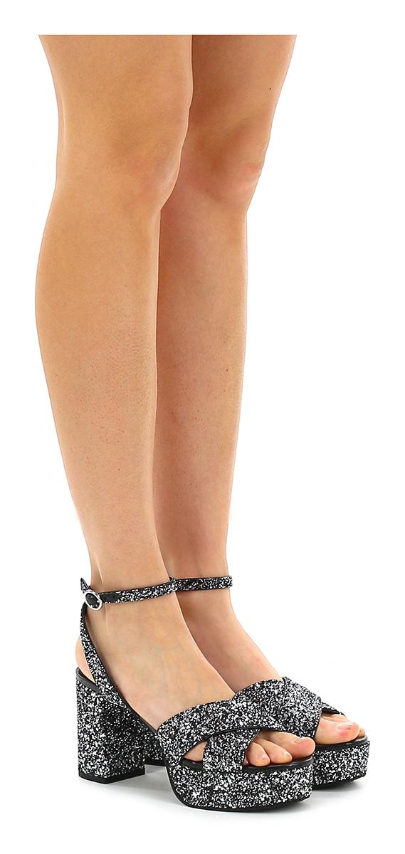 Sandalo alto Silver/black What for Hohe Qualität