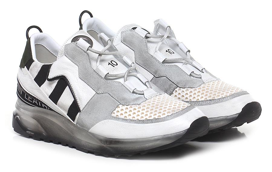 Sneaker White/grey/black Leather Crown Verschleißfeste billige Schuhe