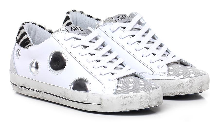 Sneaker Bianco/grigio/zebra Quattrobarradodici Verschleißfeste billige Schuhe
