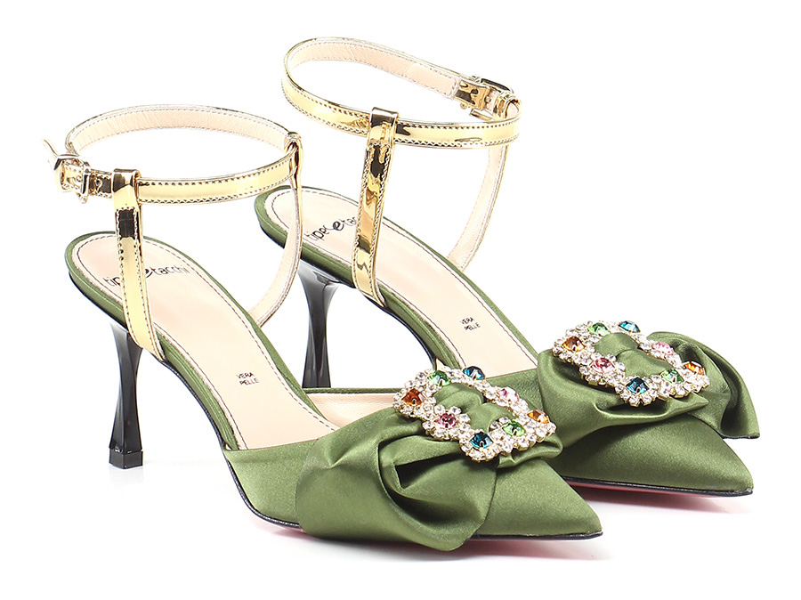 Scarpa con tacco Verde/oro Tipe e Tacchi