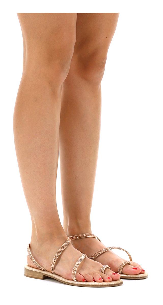 Sandalo basso Rame Gisele Paris Mode billige Schuhe