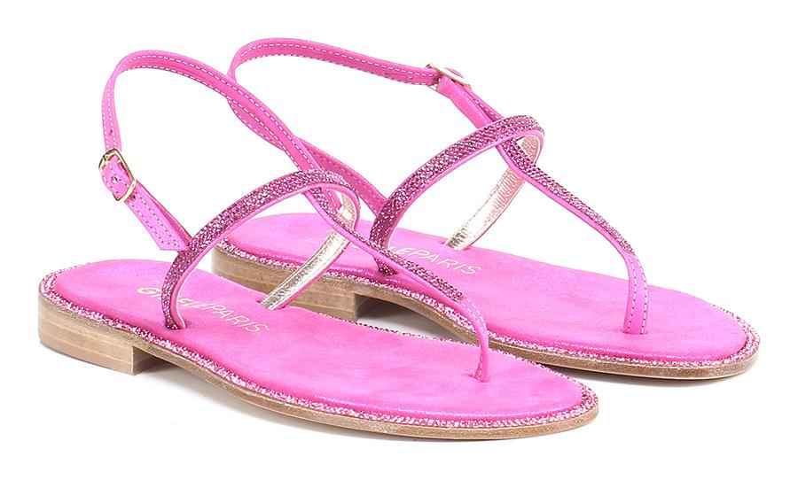 Sandalo basso Fuxia Gisele Paris Mode billige Schuhe