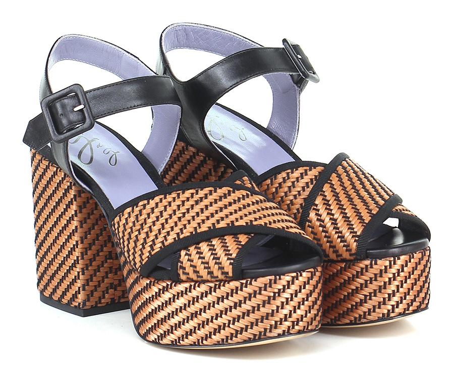 Sandalo alto Cuoio/nero G di G