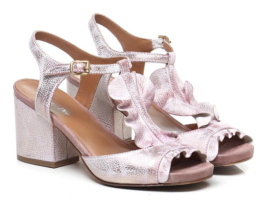 Sandalo alto Rosa/gesso Julie Dee Mode billige Schuhe