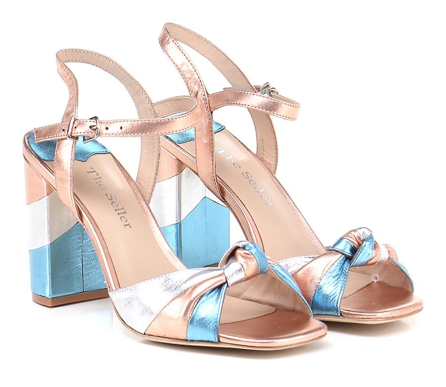 Sandalo alto Rame/argento/azzurro The Seller Hohe Qualität