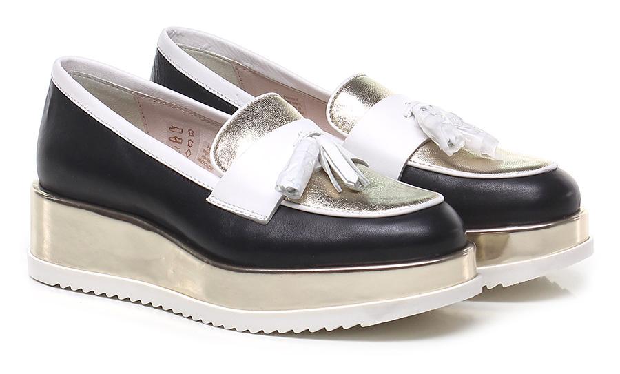 Scarpa bassa  Nero/oro/bianco Tosca Blu Shoes