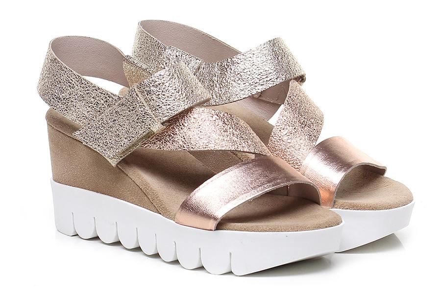 Zeppa Rame/oro/sabbia Tosca Blu Shoes Hohe Qualität